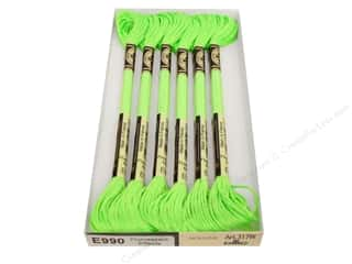 DMC Light Effects Embroidery Floss 8.7 yd. #E990 Fluorescent Effects Neon Green (6 skeins)