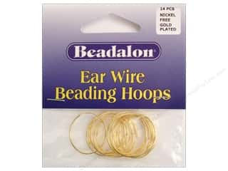 Head Pin: Beadalon Ear Wires Beading Hoops Small Gold 14pc