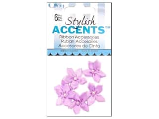 Offray Violet Ribbon Flower with Pearl 6 pc. Light Orchid