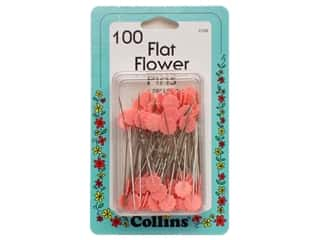 flat head pins: Flat Flower Pins Pink by Collins 100 pc.
