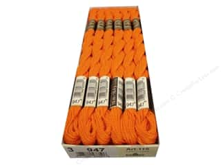 yarn & needlework: DMC Pearl Cotton Skein Size 3 #947 Burnt Orange (12 skeins)