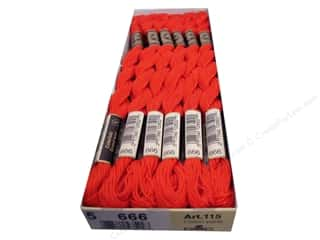DMC Pearl Cotton Skein Size 5 #666 Bright Red (12 skeins)