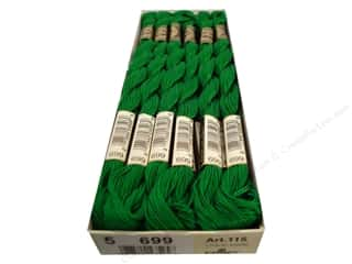 DMC Pearl Cotton Skein Size 5 #699 Green (12 skeins)