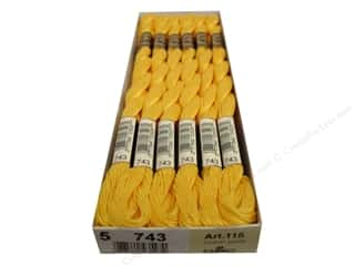 DMC Pearl Cotton Skein Size 5 #743 Medium Yellow (12 skeins)