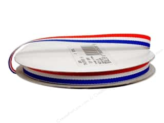 decorative floral: Offray Tri-Stripe Woven Ribbon 3/8 in. Patriotic (10 yards)