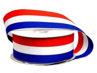 decorative floral: Offray Tri-Stripe Woven Ribbon 1 1/2 in. Patriotic (10 yards)