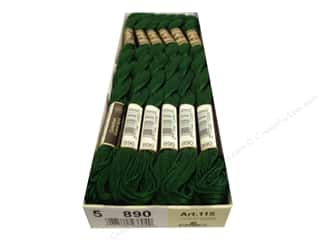 yarn & needlework: DMC Pearl Cotton Skein Size 5 #890 Ult Dark Pistachio Green (12 skeins)