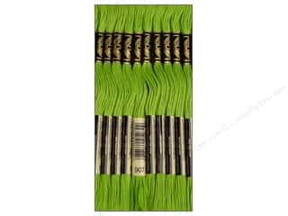 embroidery floss: DMC Six-Strand Embroidery Floss #907 Light Parrot Green (12 skeins)