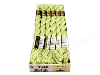 yarn & needlework: DMC Pearl Cotton Skein Size 5 #3348 Light Yellow Green (12 skeins)