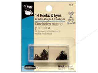 Dritz Hooks & Eyes - Size 1 Black 14 pc.