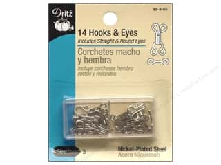 Dritz Hooks and Eyes Size 3 Nickel 14 pc.