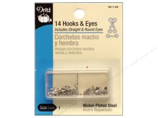 Sewing Construction: Hooks and Eyes by Dritz Size 1 Nickel 14pc.