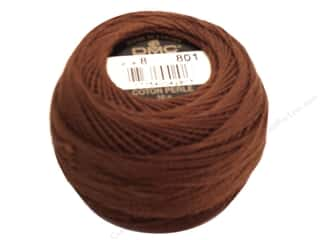 yarn & needlework: DMC Pearl Cotton Ball Size 8 #0801 Dark Coffee Brown (10 balls)