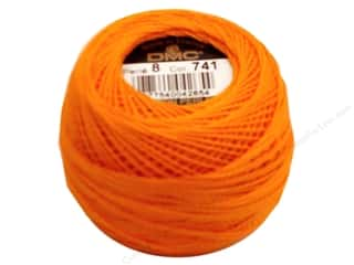 DMC Pearl Cotton Ball Size 8 #0741 Medium Tangerine (10 balls)