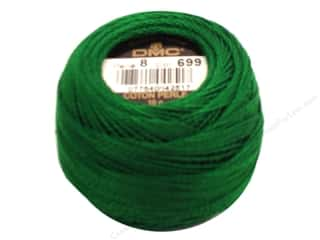 yarn & needlework: DMC Pearl Cotton Ball Size 8 #699 Green (10 balls)