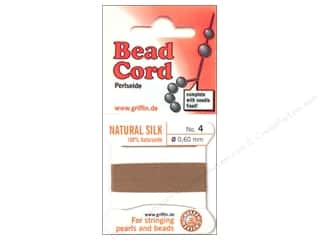 Beadalon Needles: Beadalon Bead Cord 100% Silk Size 4 Beige 2M