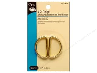 Dritz D Rings 1 1/4 in. Gilt 4 pc.