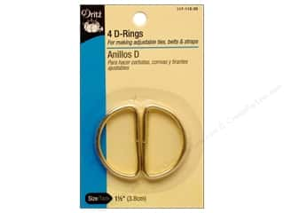 "1 3/16"" D rings: D Rings by Dritz 1 1/2 in. Gilt 4pc."