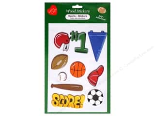 Pre-Painted Wood: Lara's Wood Stickers Sports 10 pc.