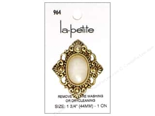 LaPetite Buttons - Shank - 1 3/4 in. Antique Gold/White 1 pc.