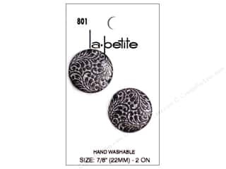 LaPetite Shank Buttons  7/8 in. Black/Silver #801 2pc.