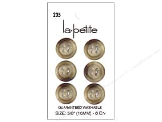 Buttons: LaPetite 4 Hole Buttons 5/8 in. Beige #235 6 pc.