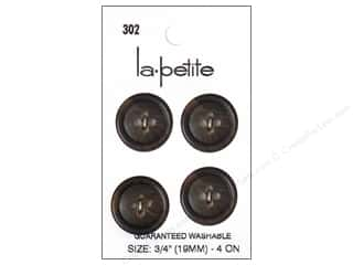 LaPetite Buttons - 4 Hole - 3/4 in. Brown 4 pc.