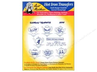 Aunt Martha's Hot Iron Transfer #3898 Floral Teapots
