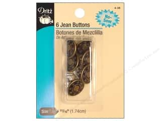 Jean Buttons by Dritz Antique Brass 6pc