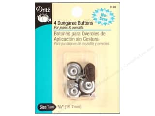 Dritz No Sew Dungaree Buttons - Antique Brass 4 pc.