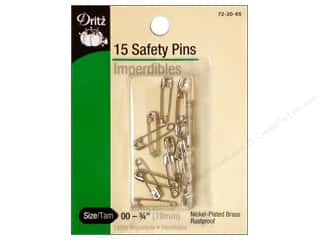 elastic: Safety Pins by Dritz 3/4 in. Nickel 15pc.