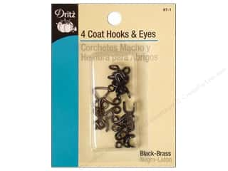 Coat Hooks and Eyes by Dritz Black 4 pc.