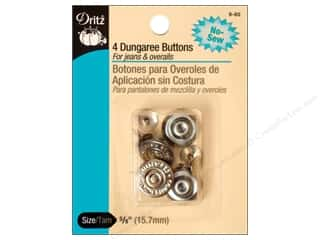 Dritz No Sew Dungaree Buttons - Nickel 4 pc.