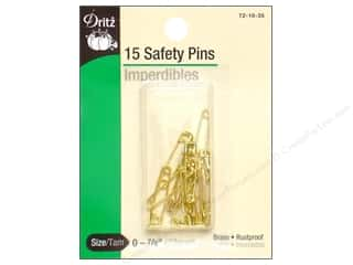 elastic: Safety Pins by Dritz 7/8 in. Brass 15pc