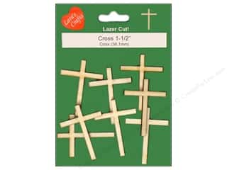 craft & hobbies: Lara's Wood Cross 1 1/2 in. 8 pc.