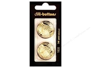 Dill Shank Buttons 1 in. Gold Metal #1830 2 pc.