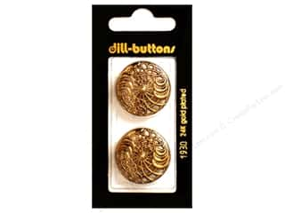 Dill Shank Buttons 1 in. Antique Gold Metal #1930 2 pc.