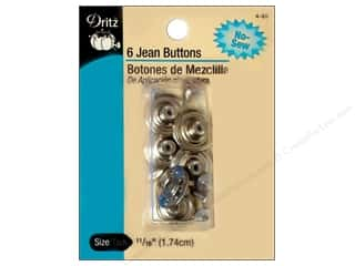 Jean Buttons by Dritz Nickel 6pc