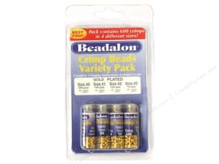 beading & jewelry making supplies: Beadalon Crimp Bead Variety Pack Gold Plated 600 pc.