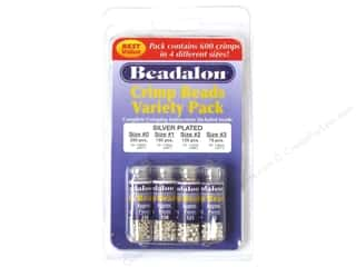 beading & jewelry making supplies: Beadalon Crimp Bead Variety Pack Silver Plated 600 pc.