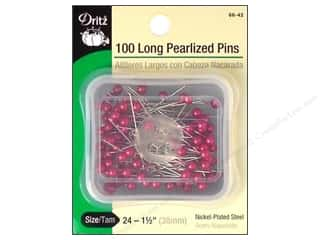 Long Pearlized Pins by Dritz Size 24  Fuschia 100pc.