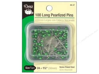 straight pins: Long Pearlized Pins by Dritz Size 24 Green 100pc.