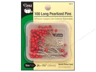 straight pins: Long Pearlized Pins by Dritz Size 24 Red 100pc.