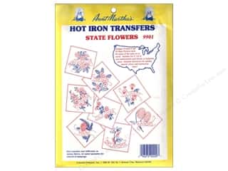 yarn & needlework: Aunt Martha's Hot Iron Transfer #9901 State Flowers Collection