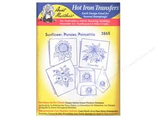 yarn draw: Aunt Martha's Hot Iron Transfer #3865 Blue Sunflower, Pansies, and Poinsettia