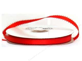 Polyester Ribbon / Synthetic Blend Ribbon: Offray Double Face Feather Edge Satin Ribbon 3/8 in. x 50 yd. Red (50 yards)