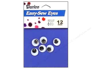 Doll & Animal Eyes: Googly Eyes by Darice Sew-On 12 mm Black 6 pc. (3 packages)