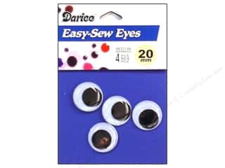 Doll & Animal Eyes: Googly Eyes by Darice Sew-On 20 mm Black 4 pc. (3 packages)