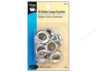 Dritz Extra Large Eyelets 7/16 in. Zinc 10 pc.