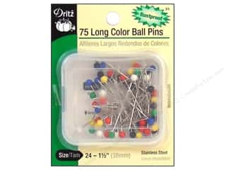 Color Ball Pins - Long by Dritz Size 24 75 pc.
